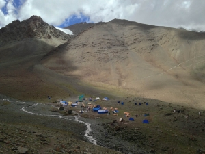 Base camp Stok Kangri & the brown hill behind it